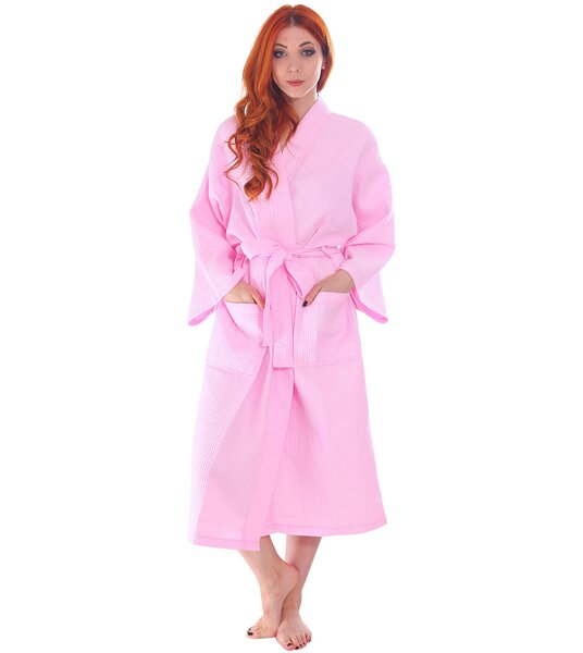 Francena Light Weave Pocketed Spa 100% Cotton Waffle Bathrobe by The Twillery Co.